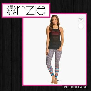 Onzie high neck sheer striped black tank one size